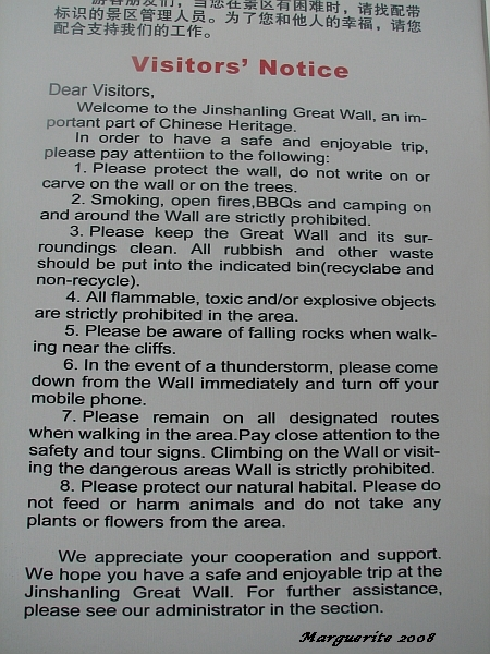 Visitors Notice JinShanLing Great Wall China